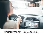 driver in rear view mirror.... | Shutterstock . vector #529653457
