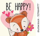 be happy greeting card cute fox ... | Shutterstock . vector #529664977