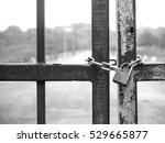 Padlock And Chain On Old Metal...