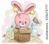 birthday card with cute rabbit... | Shutterstock . vector #529675777
