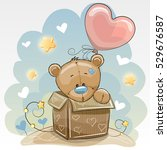 birthday card with a cute teddy ... | Shutterstock . vector #529676587