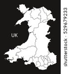 wales map with regions black... | Shutterstock .eps vector #529679233
