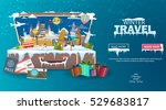 winter travel. travel to world. ... | Shutterstock .eps vector #529683817