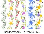 fancy floral set of seamless... | Shutterstock .eps vector #529689163