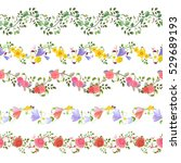 romantic floral set of seamless ...   Shutterstock .eps vector #529689193