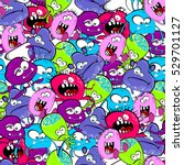 seamless pattern with monsters | Shutterstock .eps vector #529701127