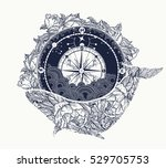 Antique compass and floral whale tattoo art. Mystical symbol of adventure, dreams. Compass and Whale t-shirt design. Travel, adventure, outdoors symbol whale, marine tattoo | Shutterstock vector #529705753