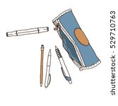 pencil case with school... | Shutterstock .eps vector #529710763