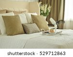 tray on bed in classic style... | Shutterstock . vector #529712863