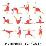 set of  yoga poses for pregnant ... | Shutterstock .eps vector #529713157