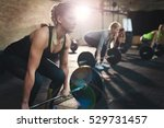 fit young woman lifting... | Shutterstock . vector #529731457