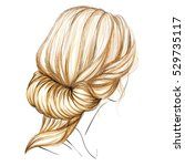 a sketch of a female hairstyle. ...