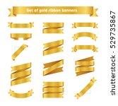 set of golden ribbon banners.... | Shutterstock .eps vector #529735867