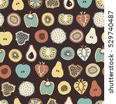 vector mixed fruit seamless... | Shutterstock .eps vector #529740487