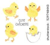 set of cute little chickens in... | Shutterstock .eps vector #529748443