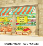 supermarket colorful hand drawn ... | Shutterstock . vector #529756933