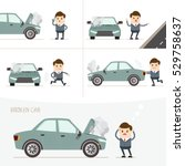 set of businessman with broken... | Shutterstock .eps vector #529758637