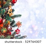 christmas tree background and... | Shutterstock . vector #529764307
