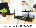 closeup of a wireless router... | Shutterstock . vector #529765453