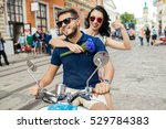 young beautiful hipster couple... | Shutterstock . vector #529784383