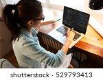 young female programmer working ... | Shutterstock . vector #529793413