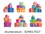 set of six piles of colorful... | Shutterstock .eps vector #529817527