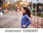 young woman in blue sweatshirt... | Shutterstock . vector #529823857