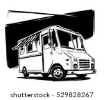 mobile kitchen lunch van. black ... | Shutterstock .eps vector #529828267