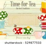 tea time card menu in retro... | Shutterstock .eps vector #529877533