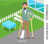 homebody on crutches with... | Shutterstock .eps vector #529886323