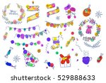 doodle christmas elements. hand ... | Shutterstock .eps vector #529888633