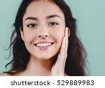 beautiful woman face close up... | Shutterstock . vector #529889983