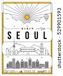 linear travel seoul poster... | Shutterstock .eps vector #529901593