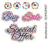 sale confetti labels and... | Shutterstock .eps vector #529929907