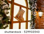 christmas socks on windows with ... | Shutterstock . vector #529933543