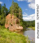 Small photo of The picturesque river Amata in Latvia in sunny summer day