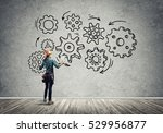 back view of engineer woman in... | Shutterstock . vector #529956877