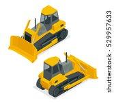 isometric dozer or bulldozer.... | Shutterstock . vector #529957633