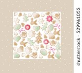 christmas vector biscuit square ...   Shutterstock .eps vector #529961053