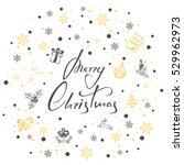 lettering merry christmas with... | Shutterstock .eps vector #529962973
