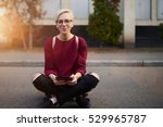 portrait of young female skater ... | Shutterstock . vector #529965787