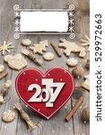 christmas heart shaped... | Shutterstock . vector #529972663