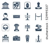 museum flat icon set with black ... | Shutterstock . vector #529995337