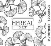 organic herbal shop leaf vector ... | Shutterstock .eps vector #530005603