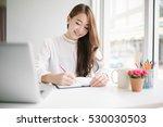 indoor picture of smiling asia... | Shutterstock . vector #530030503