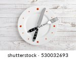 food clock on white wooden... | Shutterstock . vector #530032693