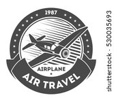 airplane logo isolated label... | Shutterstock .eps vector #530035693