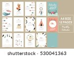colorful cute monthly calendar... | Shutterstock .eps vector #530041363