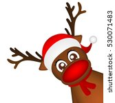 reindeer peeking sideways on a... | Shutterstock .eps vector #530071483