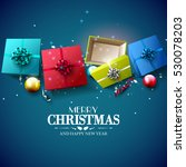 christmas colorful gift boxes... | Shutterstock .eps vector #530078203